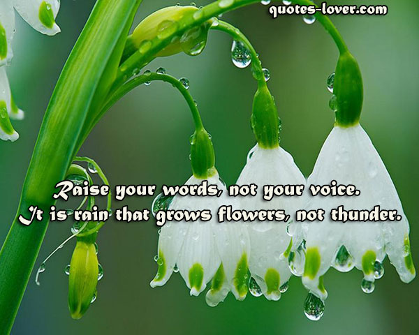 Raise your words, not your voice. It is rain that grows flowers, not thunder.