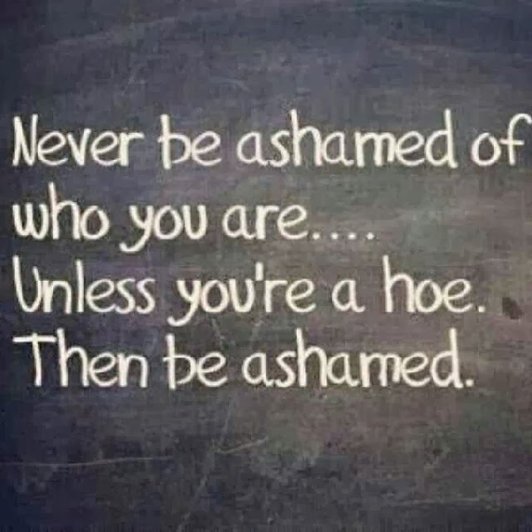 Never be ashamed of who you are.. Unless you're a hoe. Then be ashamed