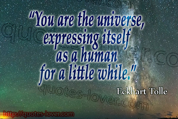 You are the universe, expressing itself as a human for a little while.