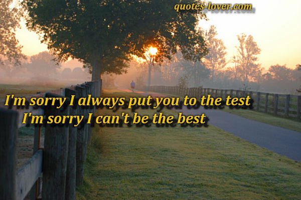 I'm sorry I always put you to the test I'm sorry I can't be the best.