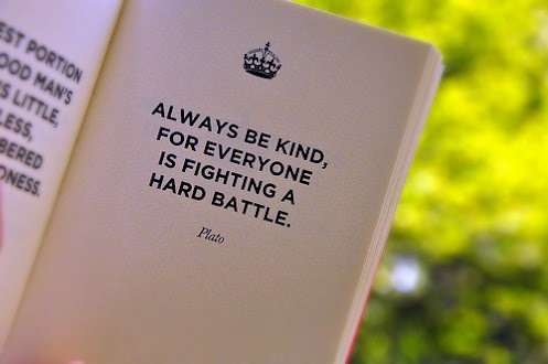 Always be kind, for everyone is fighting a hard battle