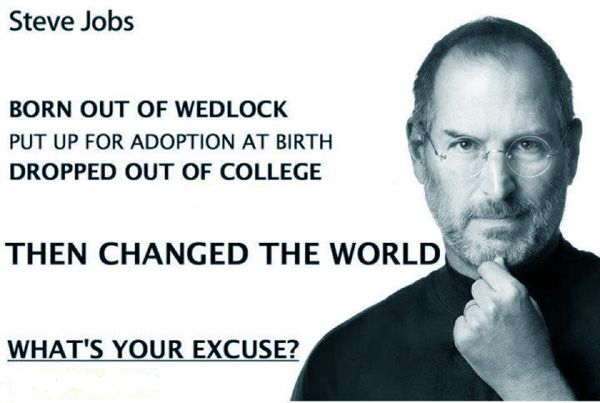 Born out of wedlock. Put up for adoption at birth. Dropped out of college. Then changed the world. What's your excuze?