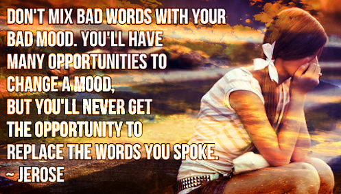 Don't mix bad words with your bad mood. You'll have many opportunities to change a mood, but you'll never get the opportunity to replace the words you spoke