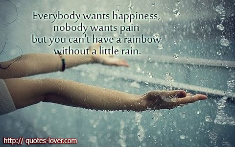 Everybody wants happiness, nobody wants pain but you can't have a rainbow without a little rain.