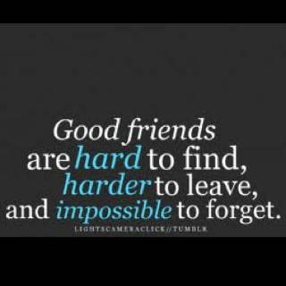 Good friends are hard to find, harder to leave and impossible to forget