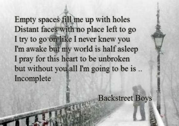 Empty spaces fill me up with holes Distant faces with no place left to go I try to go on like I never knew you I'm awake but my world is half asleep I pray for this heart to be unbroken but without you all I'm going to be is .. Incomplete