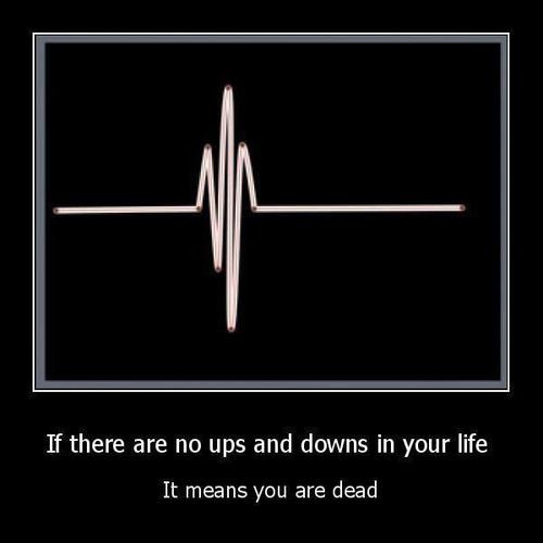 If there are no ups and down in your life It means you are dead