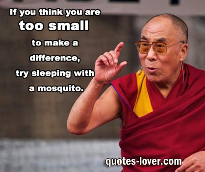If you think are too small to make a difference try sleeping with a mosquito.