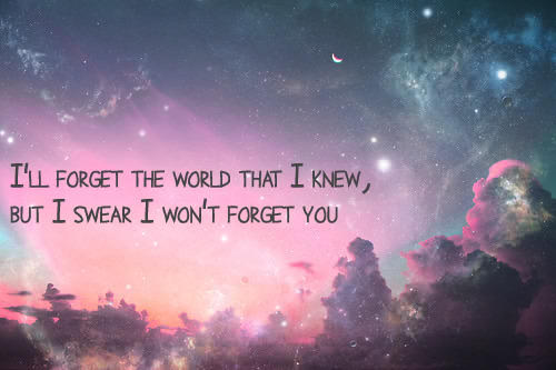I'll forget the world that I knew, but I swear I won't forget you