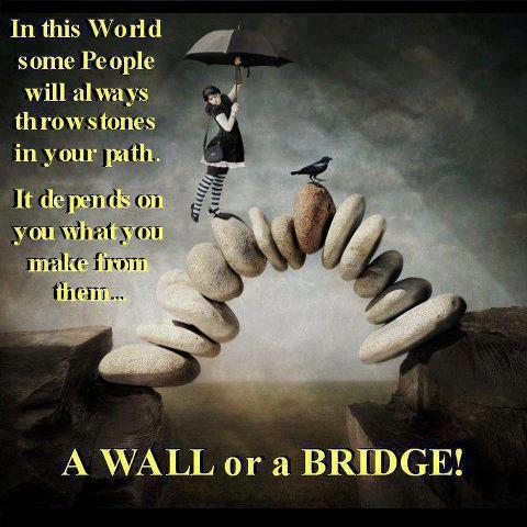 In this world some people will always throw stones in your path. It depends on you what you make from them.. a wall or a bridge!