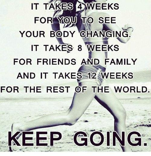 It takes 4 weeks for you to see your body changing. It takes 8 weeks for friends and family and it takes 12 weeks for the rest of the world. Keep going!