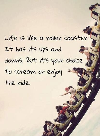 Life is like a roller coaster. It has its ups and downs. But it's your choice to scream or enjoy the ride