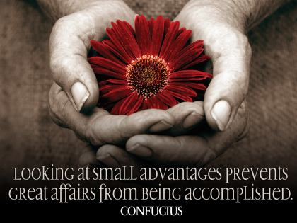 Looking at small advantages prevents great affairs from being accomplished.