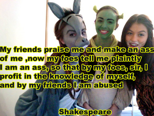 My friends praise me and make an ass of me, now my foes tell me plaintly I am an ass, so that by my foes, sir, I profit in the knowledge of myself, and by my friends I am abused