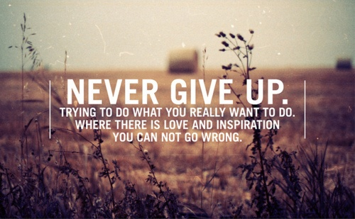 Never give up. Trying to do what you really want to do. Where there is love and inspiration you can not go wrong