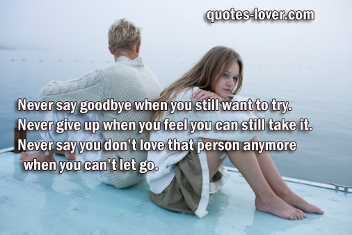 Never say goodbye when you still want to try. Never give up when you feel you can still take it. Never say you don't love that person anymore when you can't let go.