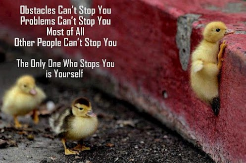 Obstacles can't stop you. Problems can't stop you. Most of all other people can't stop you. The only one who stops you is yourself.