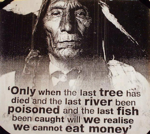 Only when the last tree has died and the last river been poisoned and the last fish been caught will we realise we cannot eat money