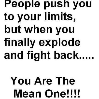 People push you to your limits, but when you finally explode and fight back... You are the mean one!!!