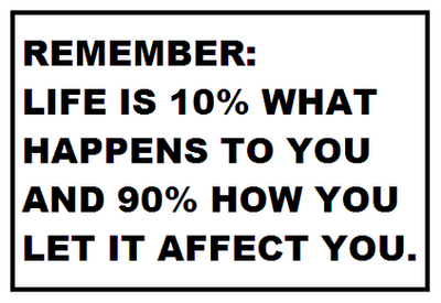 Remember! Life is 10% what happens to you and 90% how you let it affect you