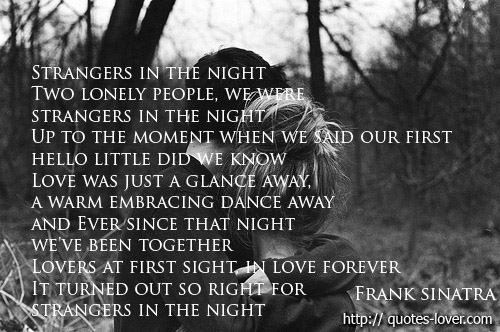 Strangers in the night  Two lonely people, we were strangers in the night