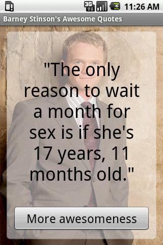 The only reason to wait a month for sex is if she's 17 years, 11 months old