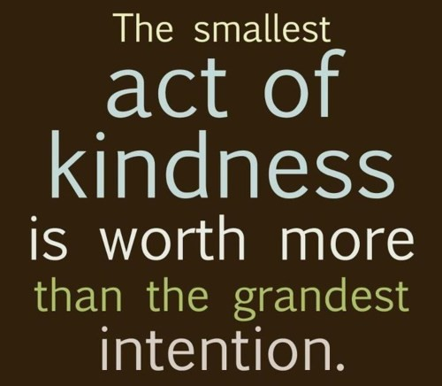 The smallest act of kindness is worth more than grandest intention
