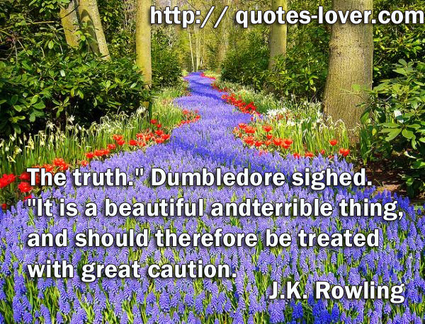 "The truth."" Dumbledore sighed. ""It is a beautiful and terrible thing, and should therefore be treated with great caution."