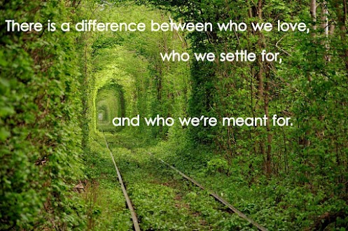 There is a difference betwen who we love, who we settle for, and who we're meant for
