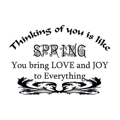 Thinking of you is like SPRING. You bring LOVE and JOY to Everything.