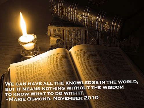 We can have all the knowledge in the world, but it means nothing without the wisdom to know what to do with it