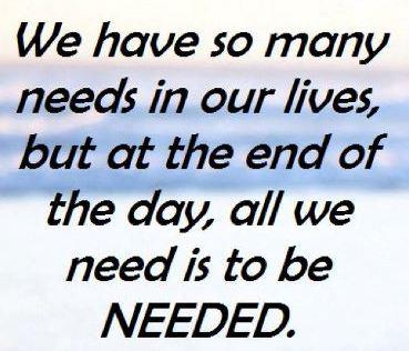 We have so many needs in our lives, but at the end of the day, all we need is to be needed