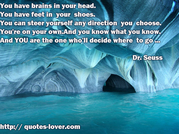 You have brains in your head.  You have feet in  your  shoes.  You can steer yourself any direction  you  choose. You're on your own.And you know what you know. And YOU are the one who'll decide where  to go ...