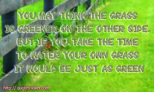 You may think the grass is greener on the other side. But if you take the time to water your own grass it would be just as green