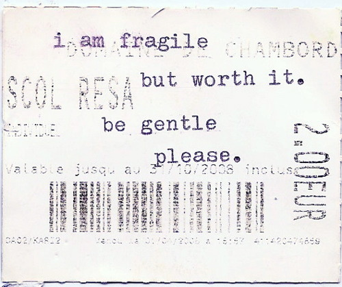 I am fragile but worth it. be gentle please.