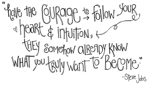 Have the courage to follow your heart & intuition, they somehow already know what you truly want to become