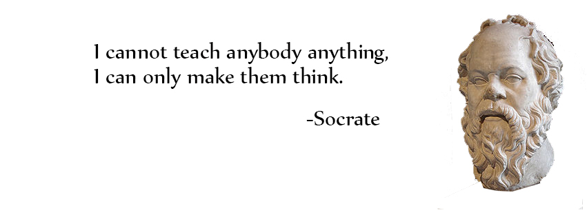 Facebook Cover: I cannot teach anybody anything, I can only make them think