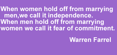 When women hold off from marrying men, we call it independence. When men hold off from marrying women we call it fear of commitment