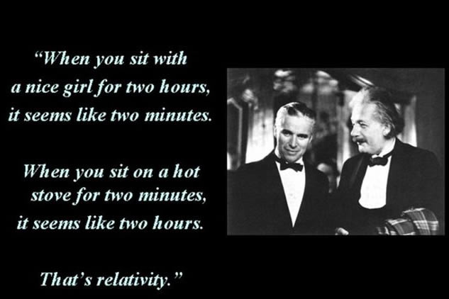 When you sit with a nice girl for two hours it seems like two minutes. When you sit on a hot stove for two minutes, it seems like two hours. That's relativity